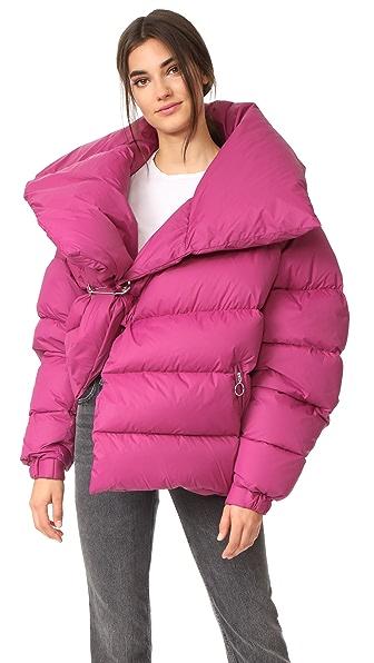 Marques Almeida Asymmetrical Puffer Jacket In Pink