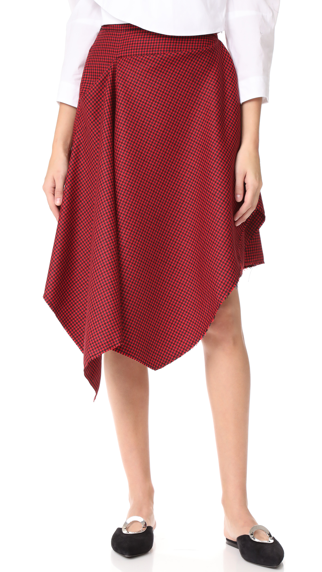 Marques Almeida Deconstructed Drape Front Skirt - Red/Black Houndstooth