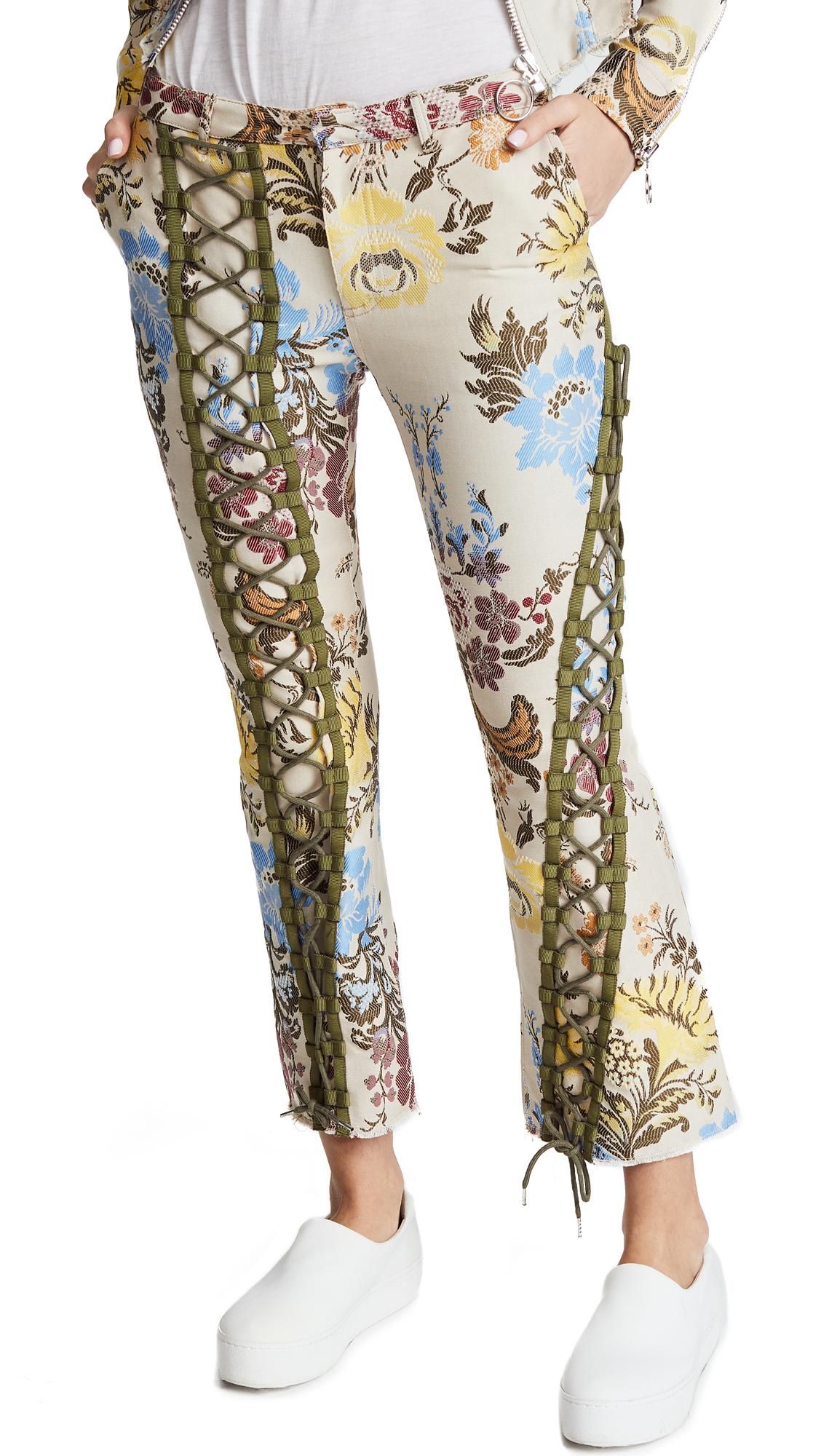 Marques Almeida Lace Up Trousers In Cream/Multi