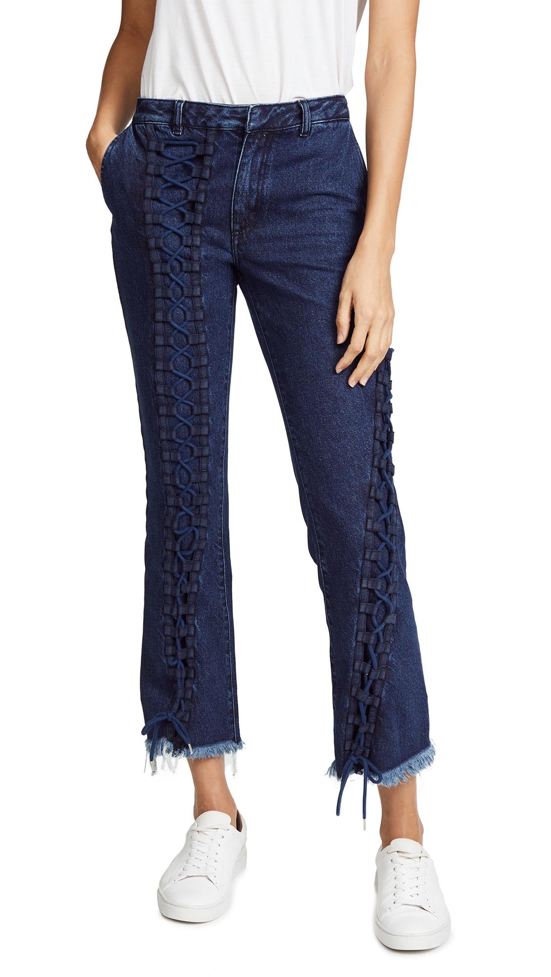 Marques Almeida Lace Up Jeans In Indigo