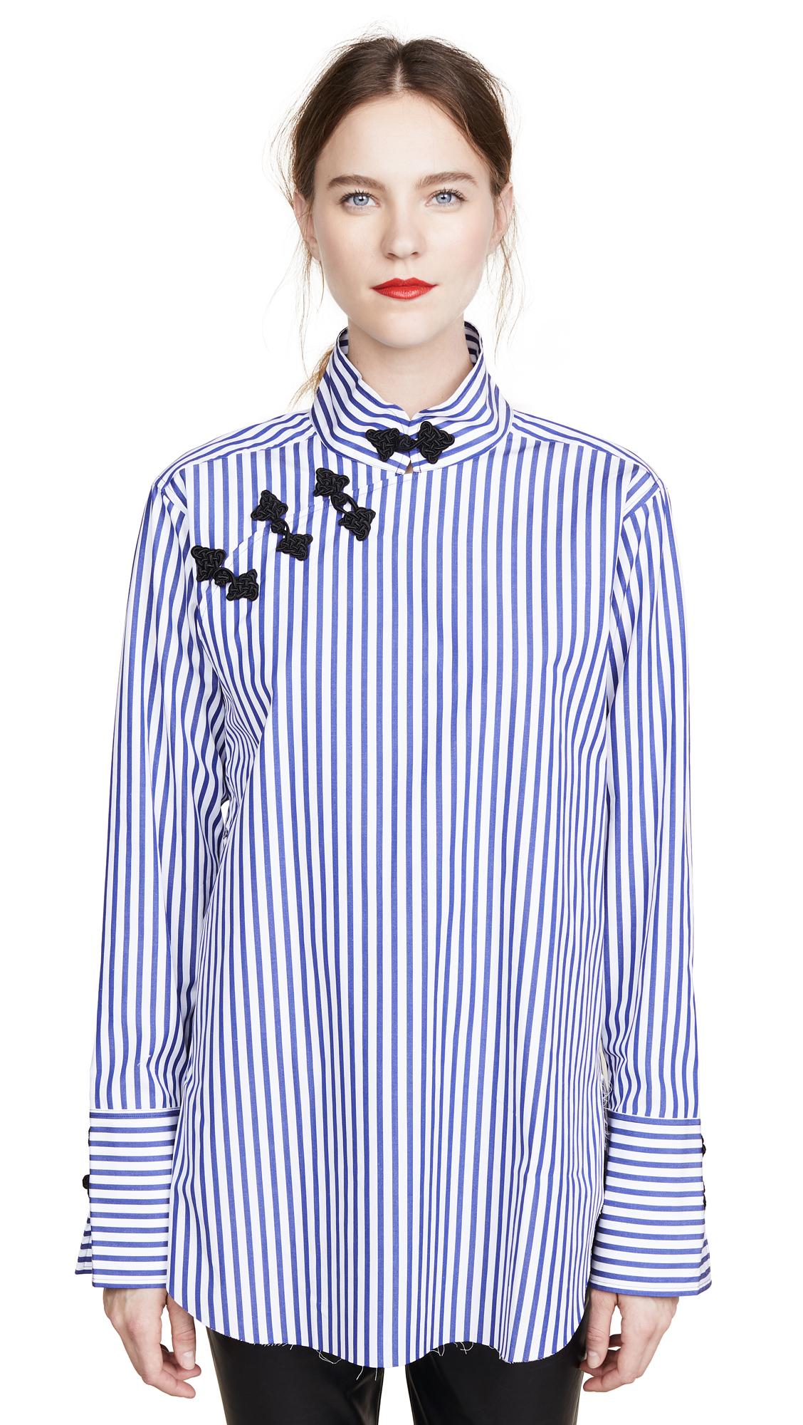 Marques Almeida Mandarin Wrap Shirt In Blue/White