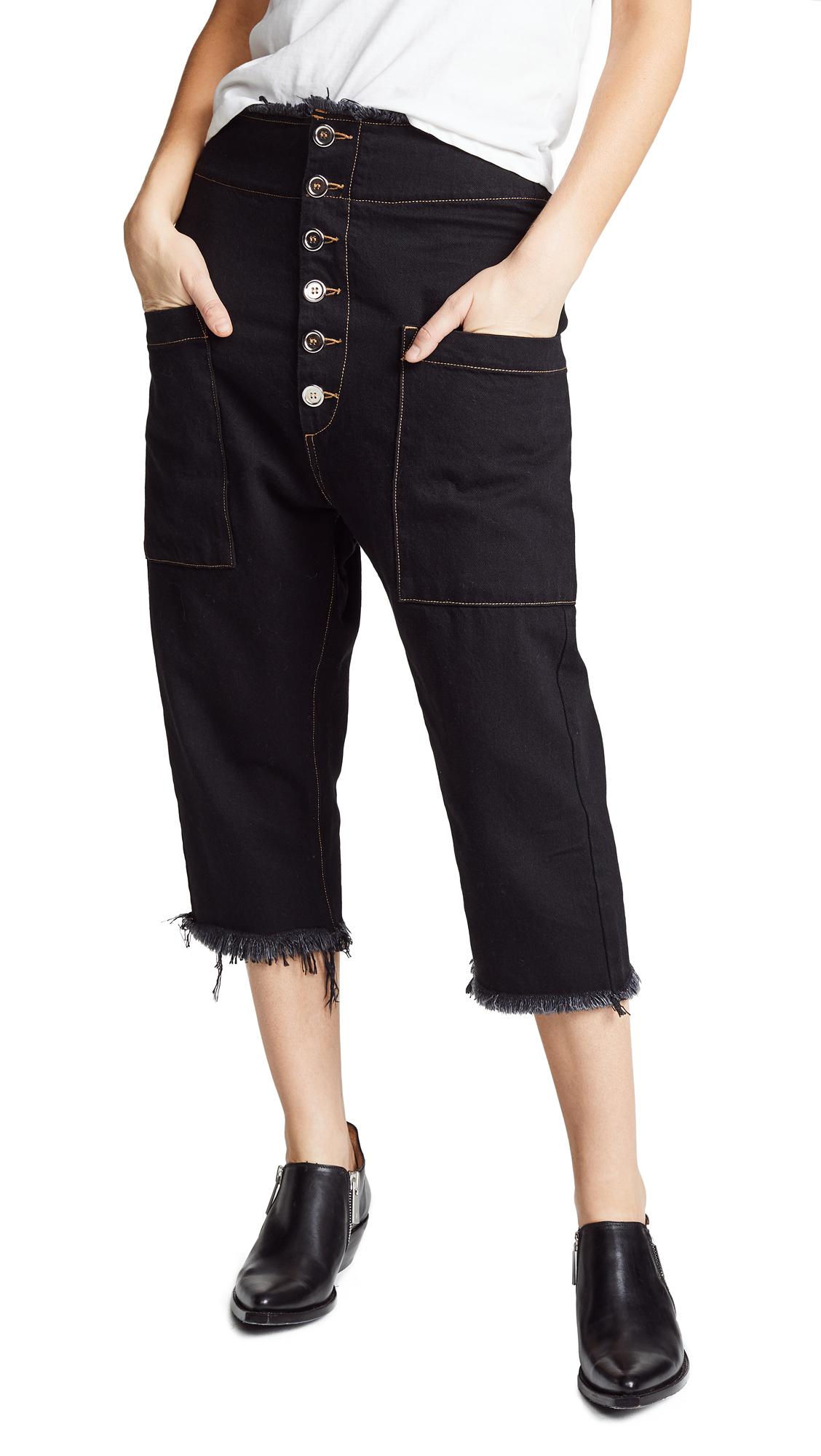 Marques Almeida Drop Crotch Trousers In Black