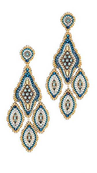 Miguel Ases Beaded Chandelier Earring - Turquoise Blue