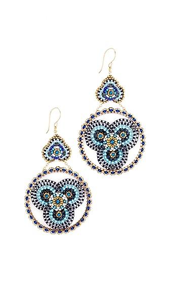 Miguel Ases Beaded Disc Earrings - Blue