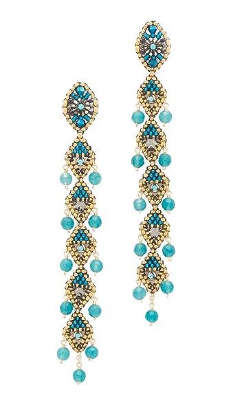 Miguel Ases Beaded Linear Drop Earrings - Blue