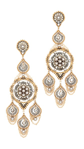 Miguel Ases Ornate Stone Chandelier Earrings