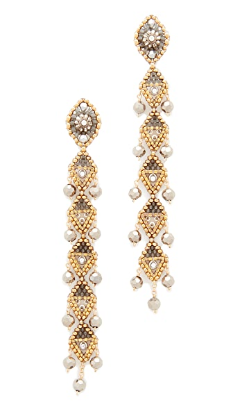 Miguel Ases Linear Drop Earrings with Dangling Beads - Bronze