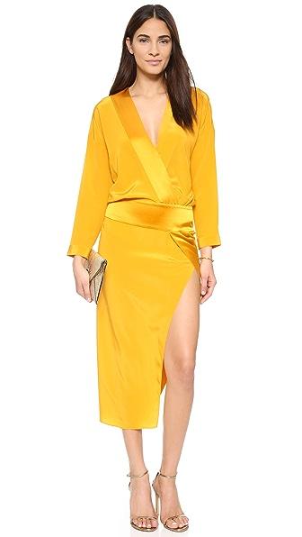 Michelle Mason Obi Long Sleeve Wrap Dress - Mango