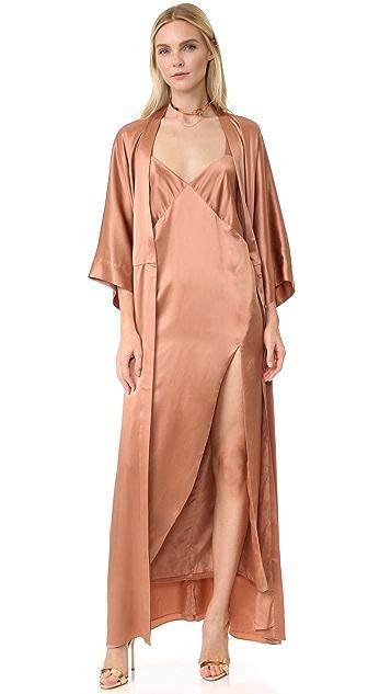 Michelle Mason Cross Back Slip Maxi Dress