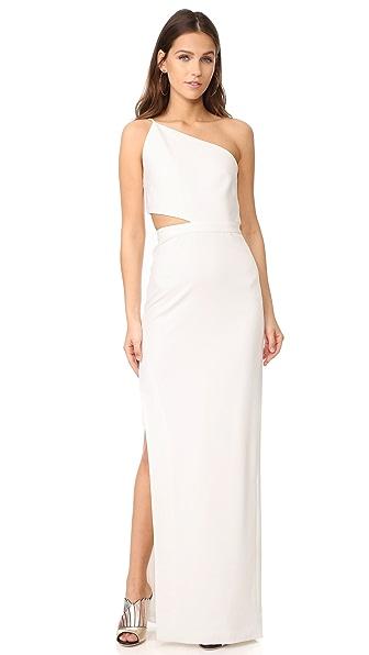 Michelle Mason Asymmetrical Bandeau Gown - Ivory