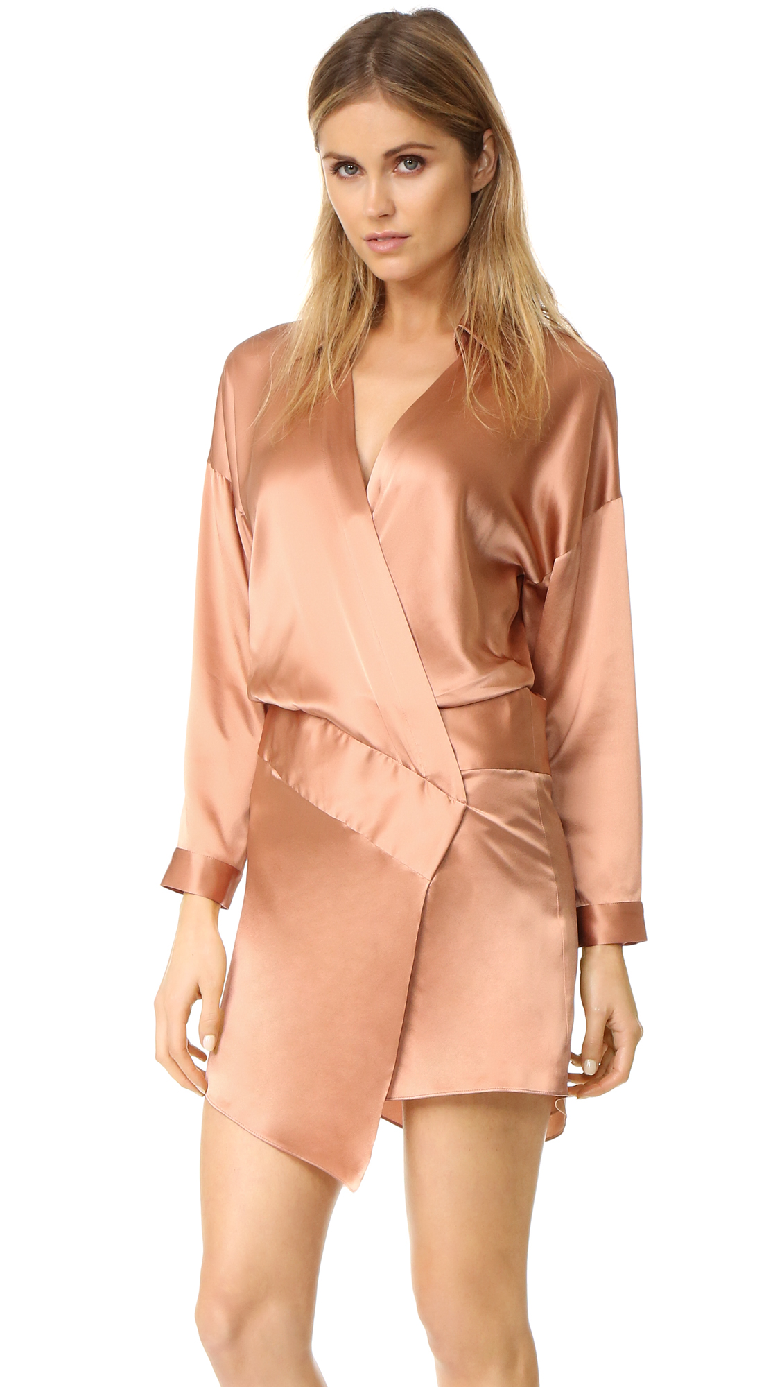Michelle Mason Oversized Wrap Mini Dress - Terracotta