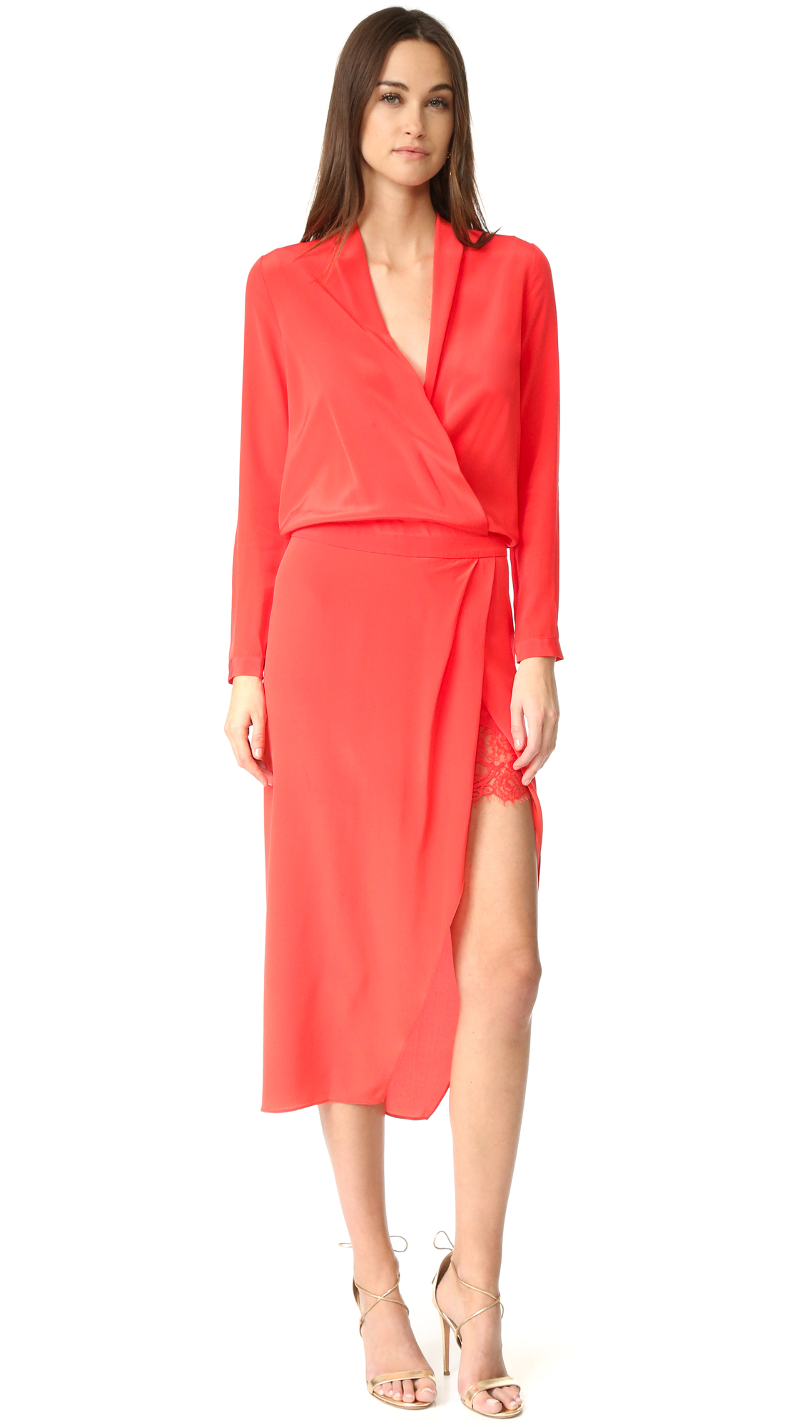 Michelle Mason Long Sleeve Wrap Dress With Lace Slip - Poppy