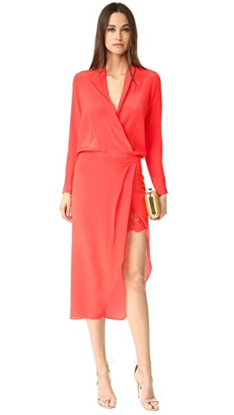 Michelle Mason Long Sleeve Wrap Dress with Lace Slip