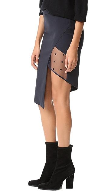 Michelle Mason Mesh Panel Asymmetrical Skirt