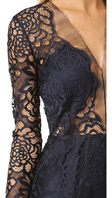 Michelle Mason Long Sleeve Lace Dress
