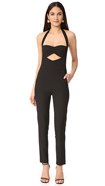 Michelle Mason Cutout Bandeau Halter Jumpsuit In Black