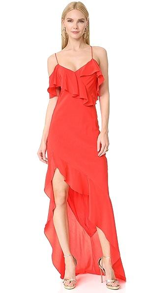 Michelle Mason Asymmetrical Ruffle Gown In Poppy