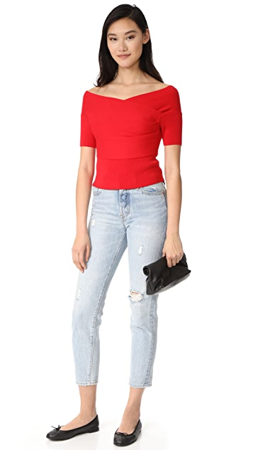 Michelle Mason Short Sleeve Cross Wrap Top