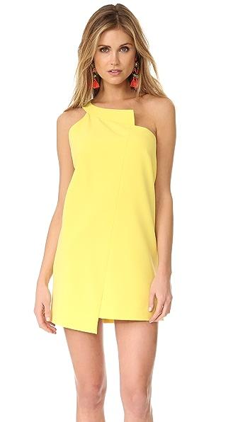 Michelle Mason One Shoulder Shift Dress - Lemon