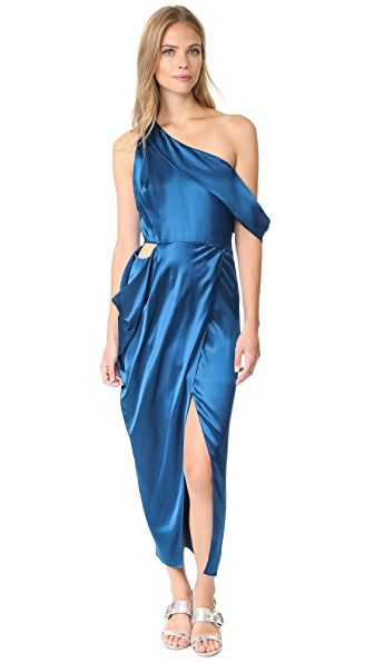 Michelle Mason Asymmetrical Draped Midi Dress In Marine