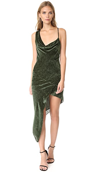 Michelle Mason Asymmetrical Bias Velvet Maxi Dress - Hunter