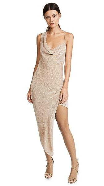 Michelle Mason Asymmetrical Bias Velvet Maxi Dress at Shopbop