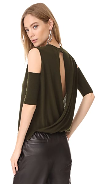 Michelle Mason Open Shoulder Sweater - Hunter