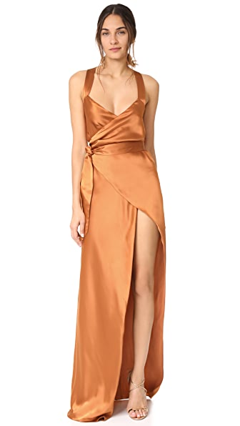 Michelle Mason Cross Back Wrap Gown - Copper