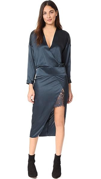 Michelle Mason Obi Dress w/ Lace - Navy