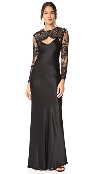 Michelle Mason Bias Maxi Gown with Lace Shrug - Black