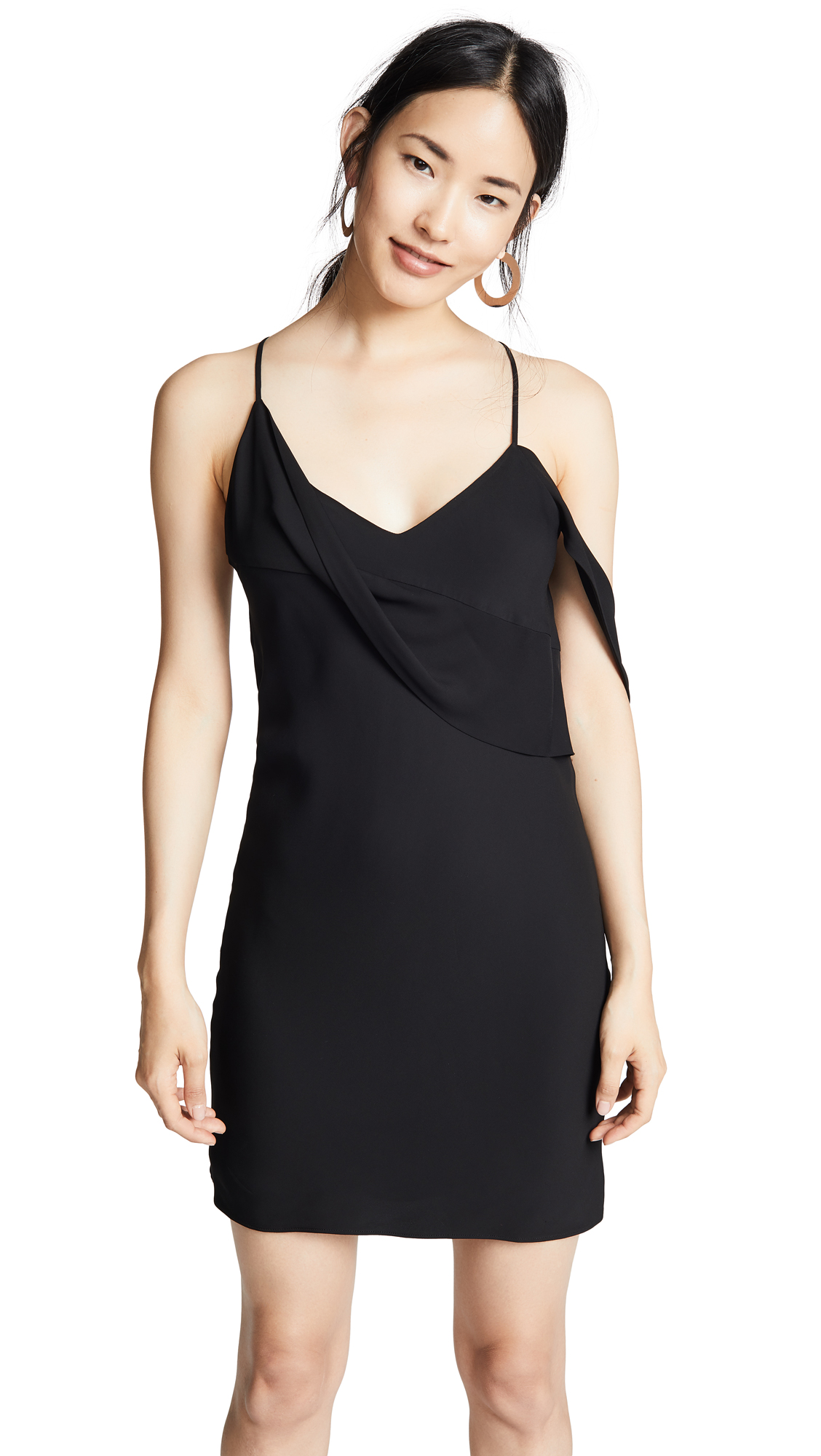 Michelle Mason Mini Dress with Draped Cowl Neckline