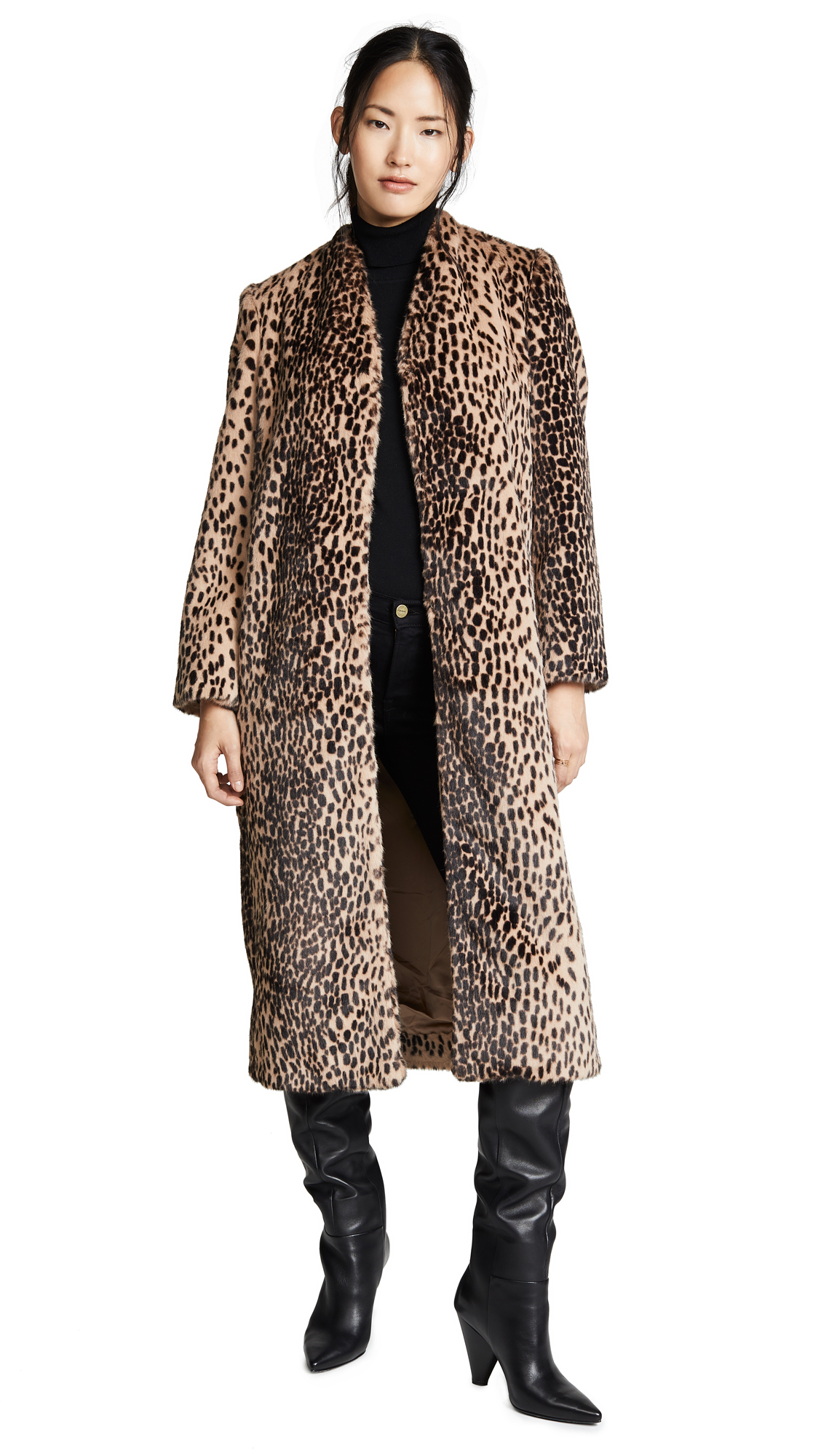 Michelle Mason Faux Fur Coat In Champagne