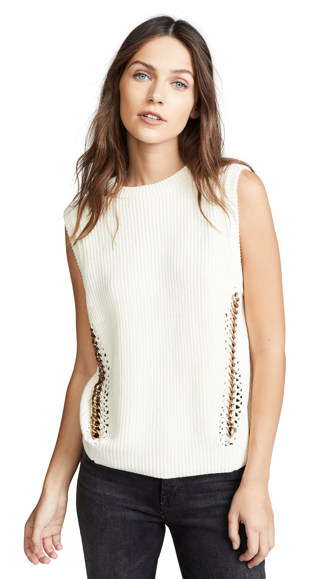 Michelle Mason Sleeveless Sweater With Chains In Ivory