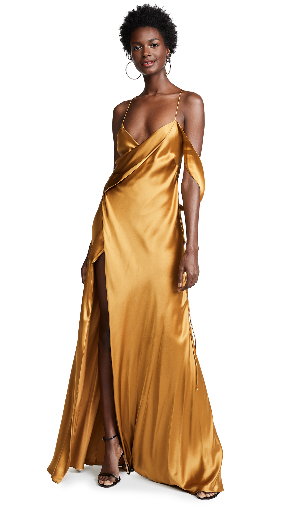 Michelle Mason Strappy Cowl Neck Gown