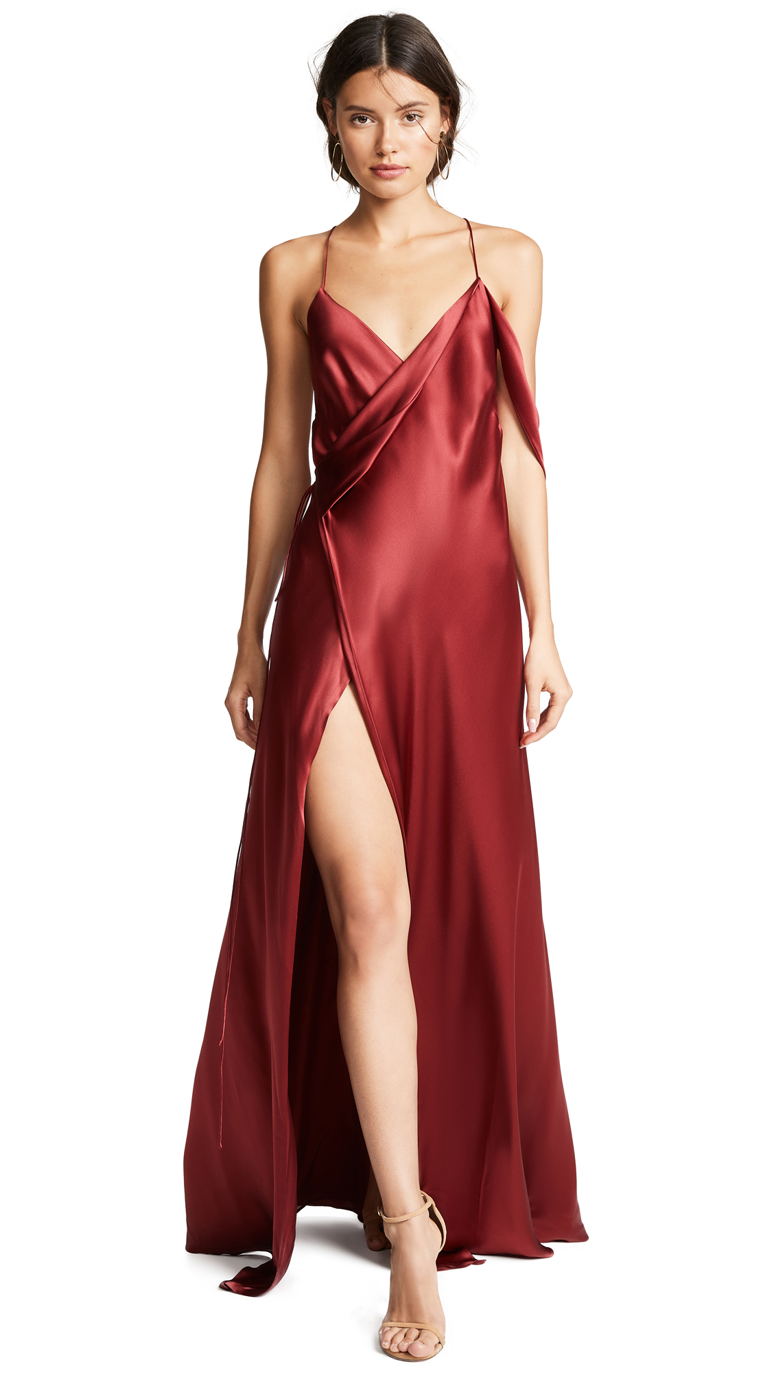 Michelle Mason Strappy Cowl Neck Gown In Blood