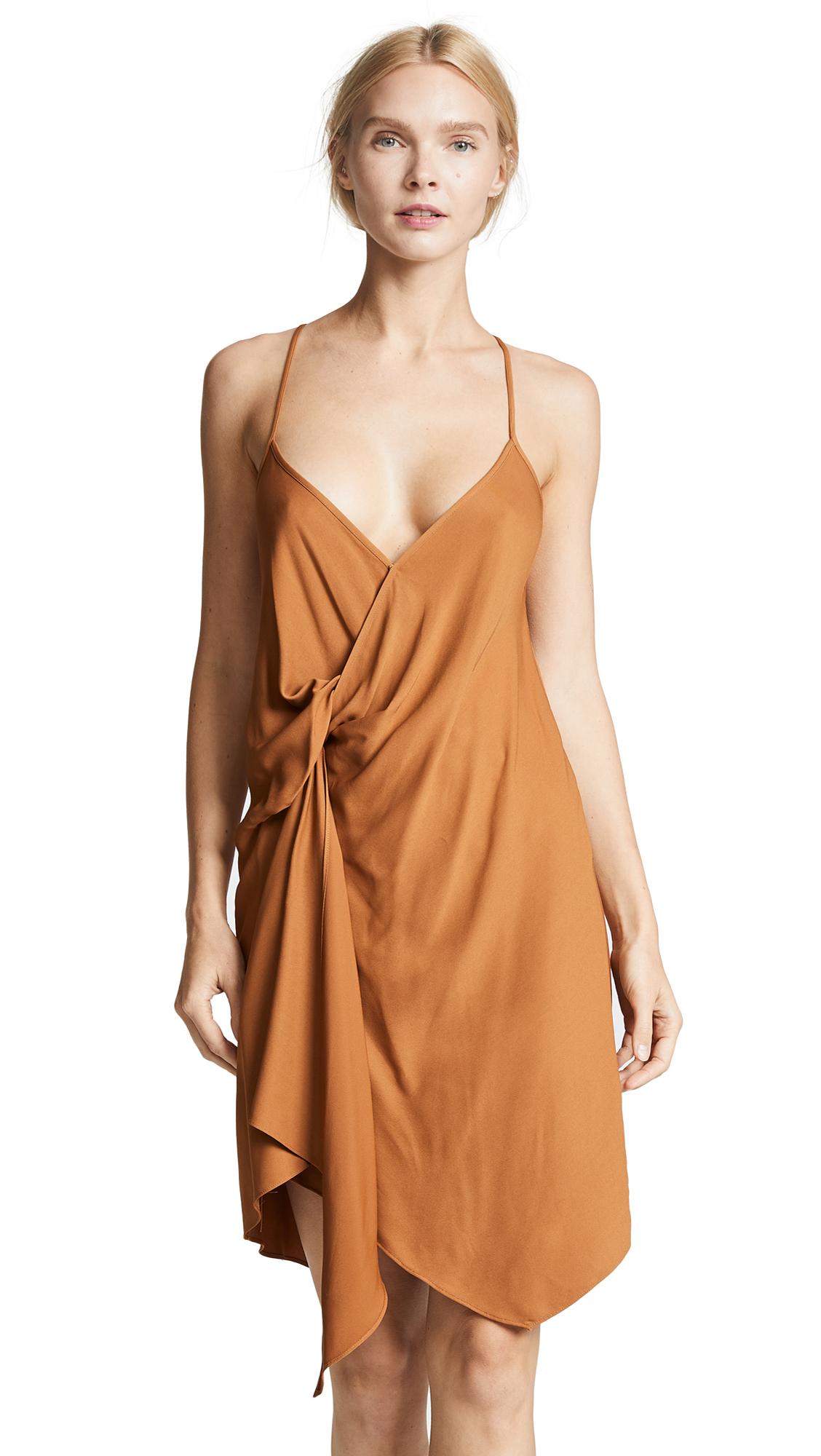 Michelle Mason Draped Cami Mini Dress In Toffee