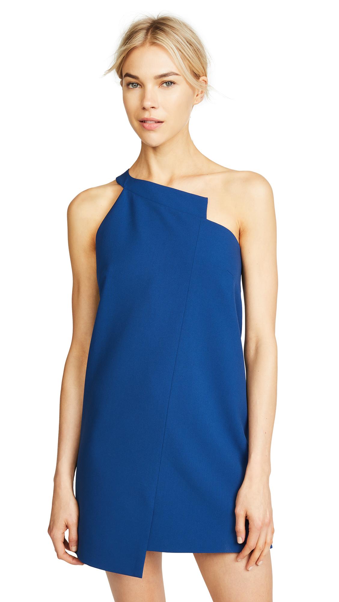Michelle Mason One Shoulder Shift Dress In Peacock Blue