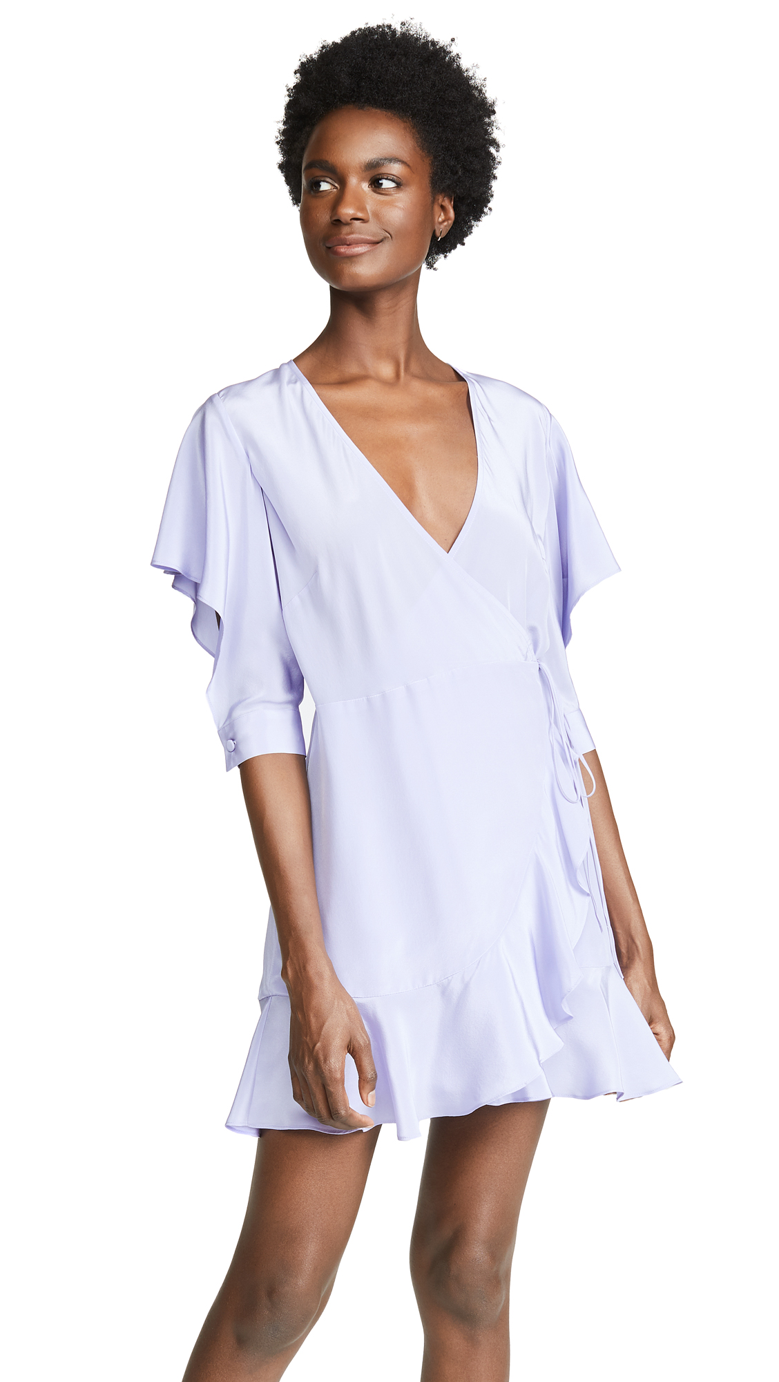 Michelle Mason Flutter Sleeve Wrap Mini Dress