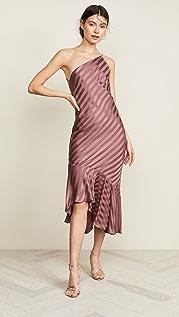 Michelle Mason Платье с открытым плечом и оборками внизу