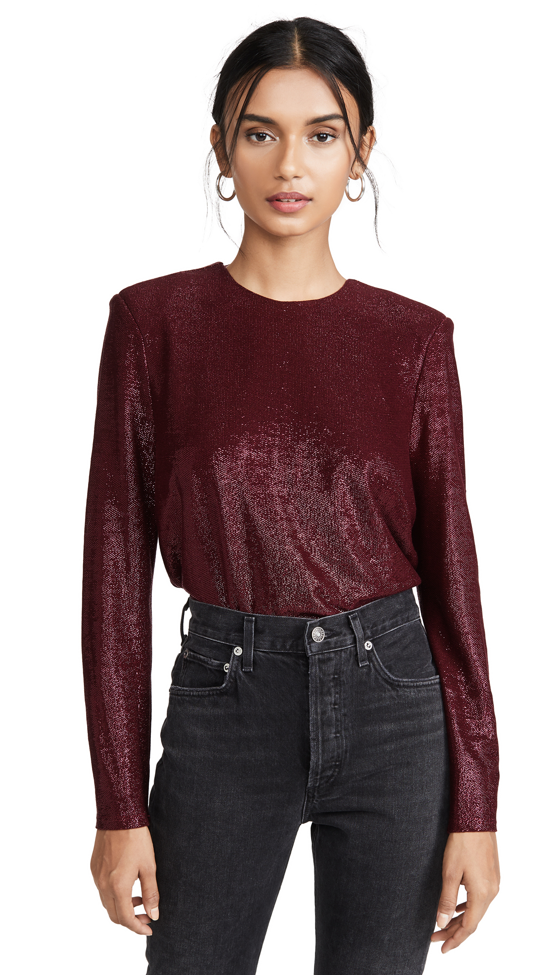 Buy Michelle Mason online - photo of Michelle Mason Long Sleeve Tee with Crystals