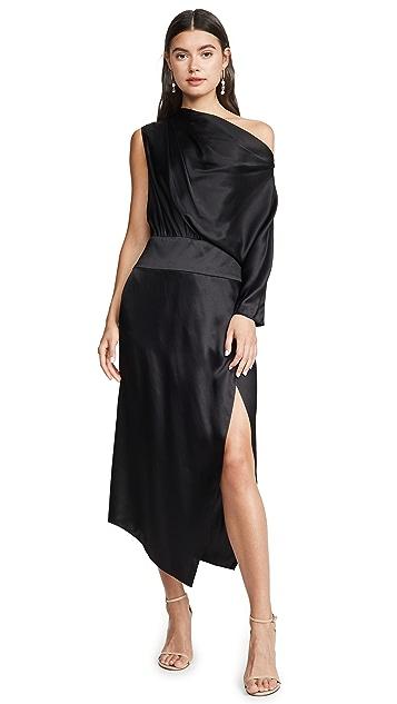 Michelle Mason One Sleeve Draped Dress