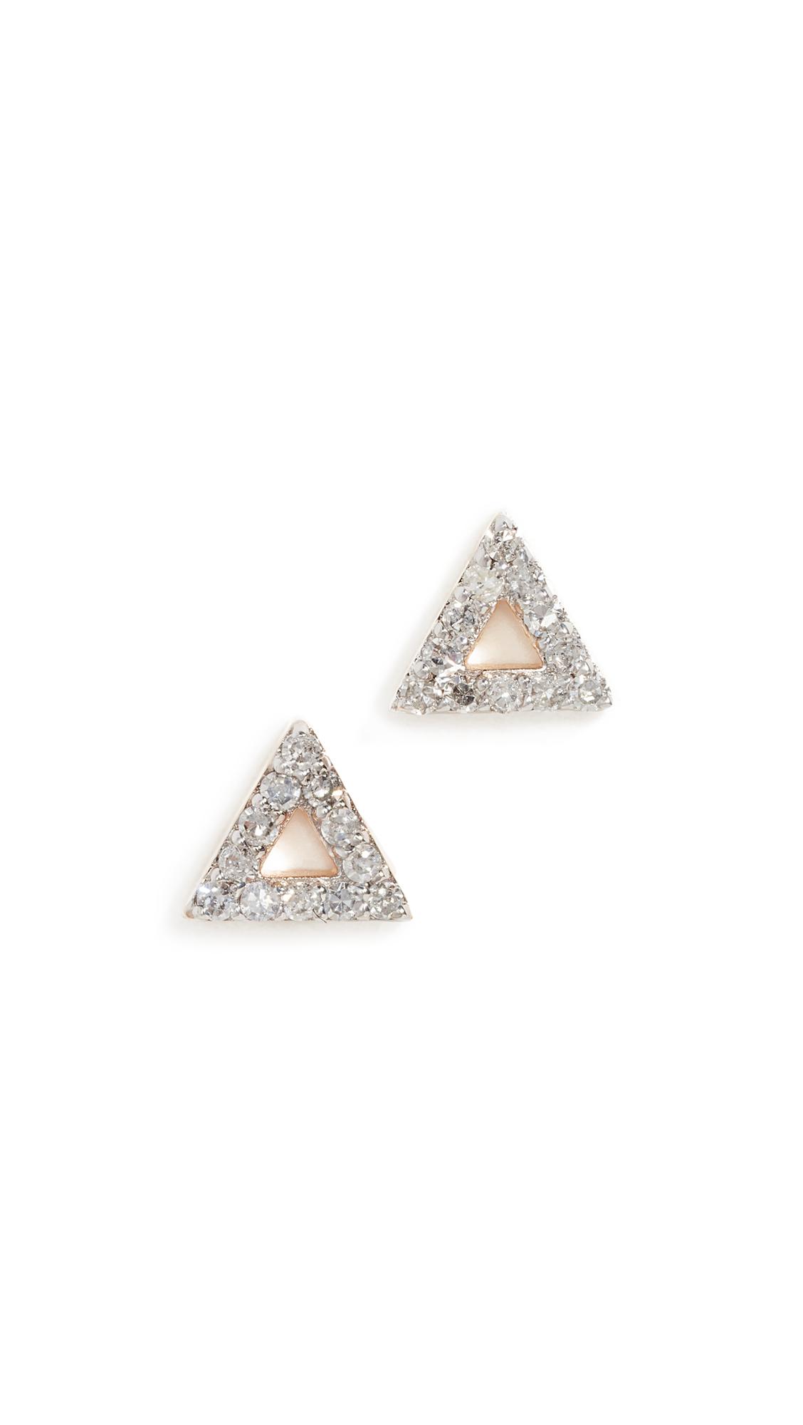 Mateo 14k Mini Diamond Triangle Studs In Yellow Gold