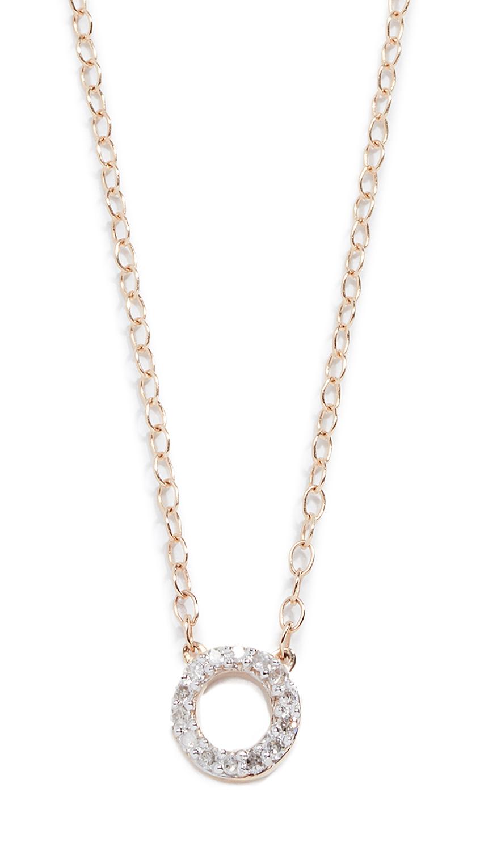 MATEO 14K Mini Diamond Circle Necklace in Yellow Gold