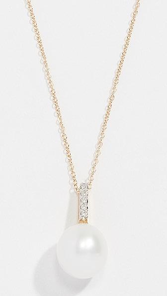 Mateo 14K GOLD SIMPLE PEARL & DIAMOND PENDANT