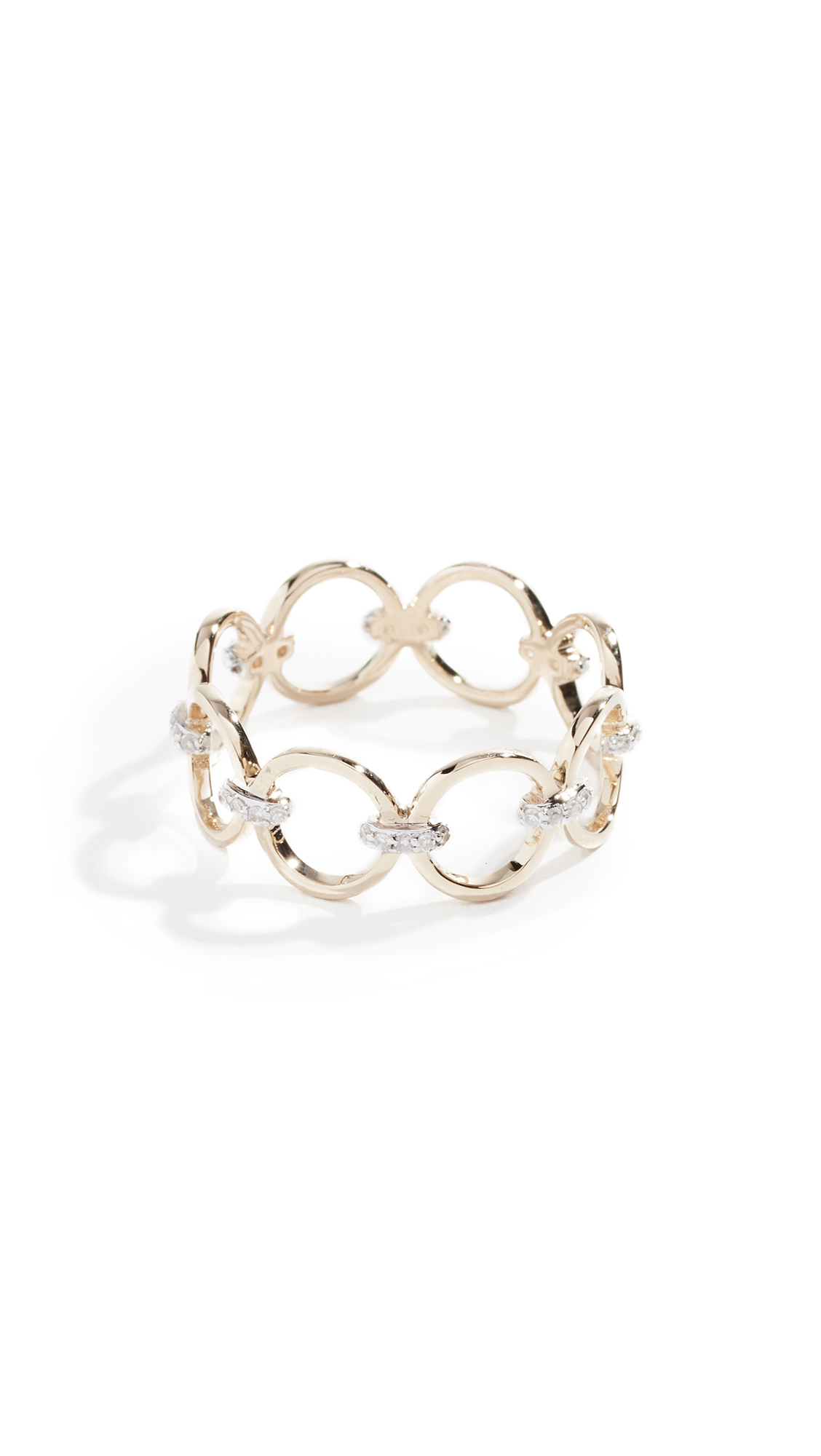 MATEO 14K Connecting Circle Ring With Diamonds in Yellow Gold