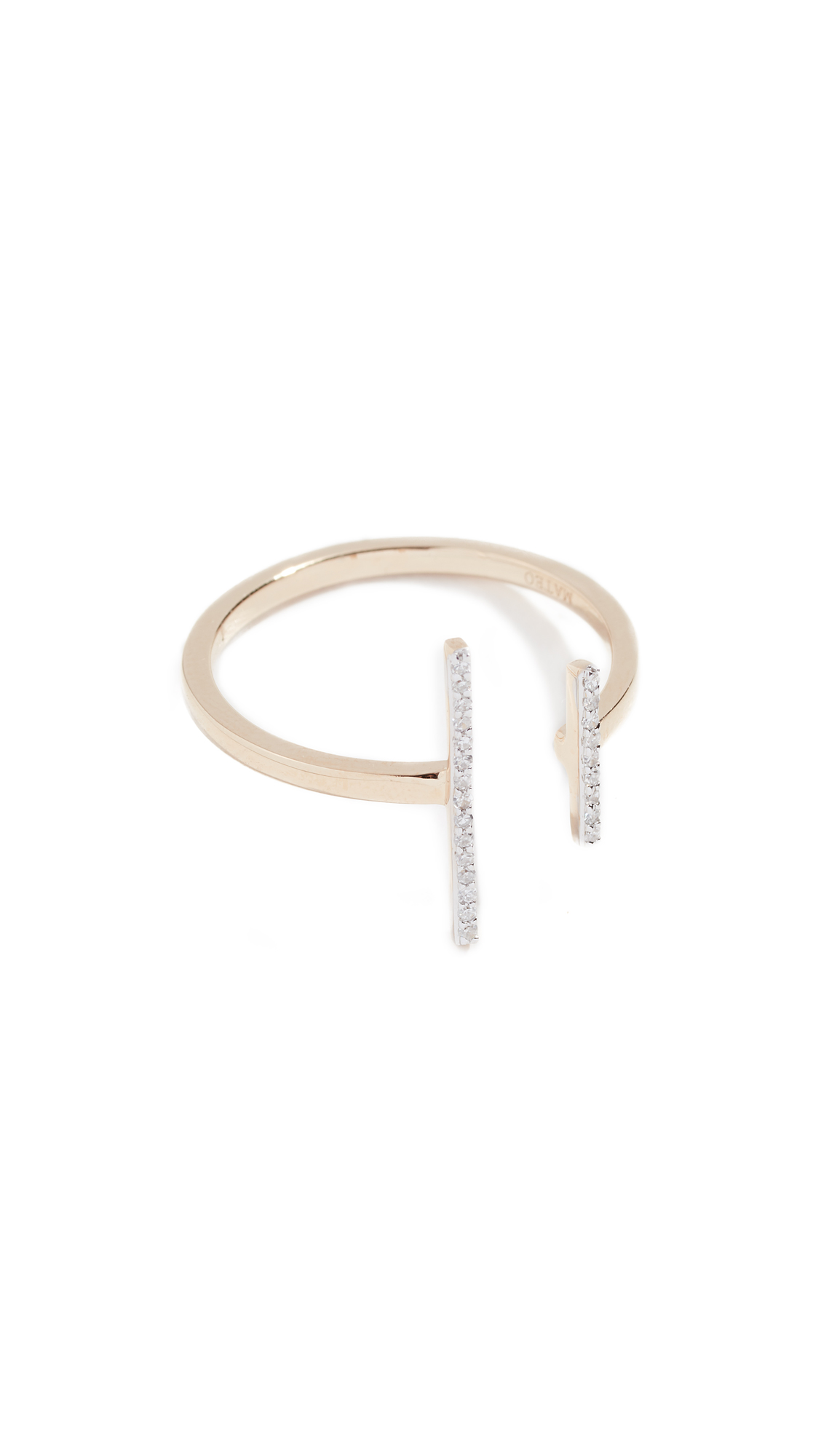14K Double Bar Ring With Diamonds, Yellow Gold