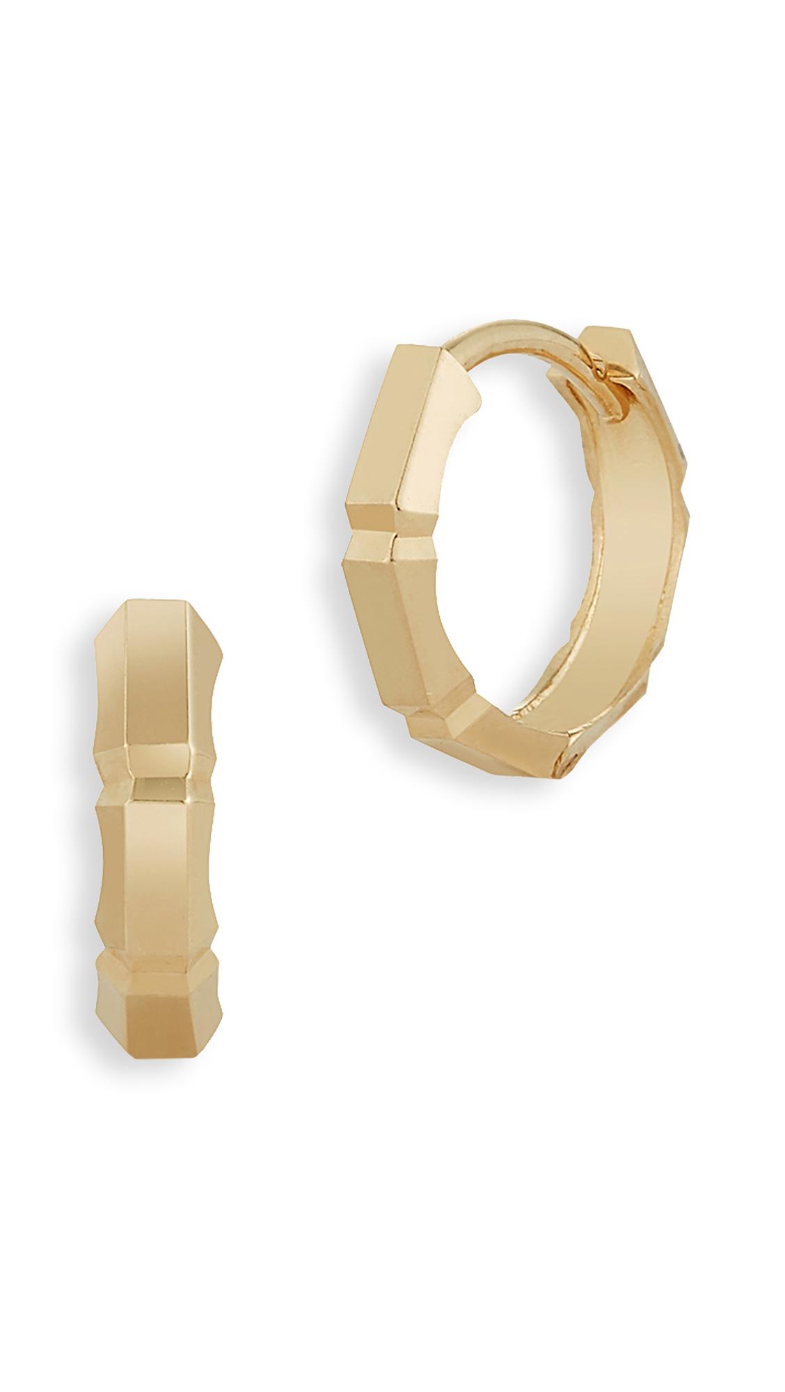 Mateo 14k Faceted Huggie Earrings