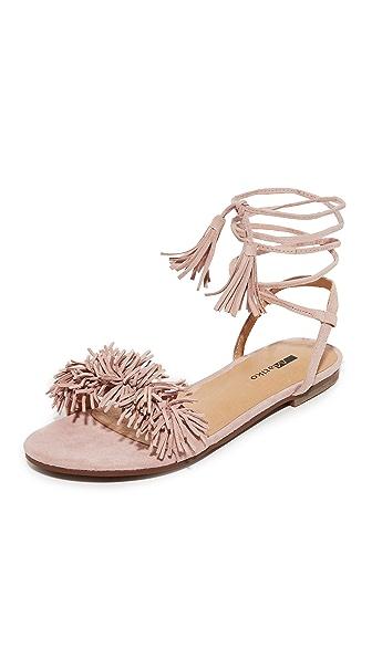 Matiko Delilah Fringe Flat Sandals - Blush