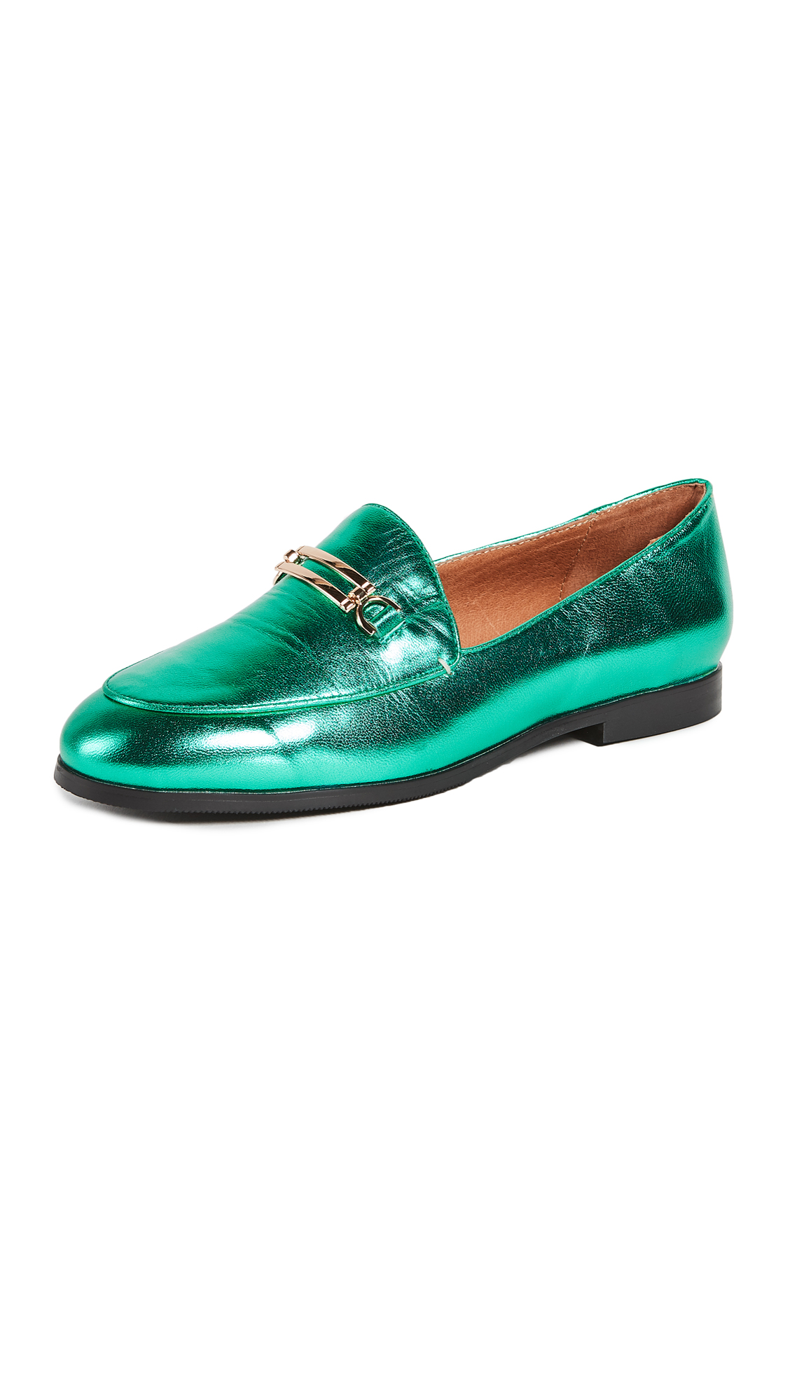 Matiko Leslie Metallic Loafers - Green