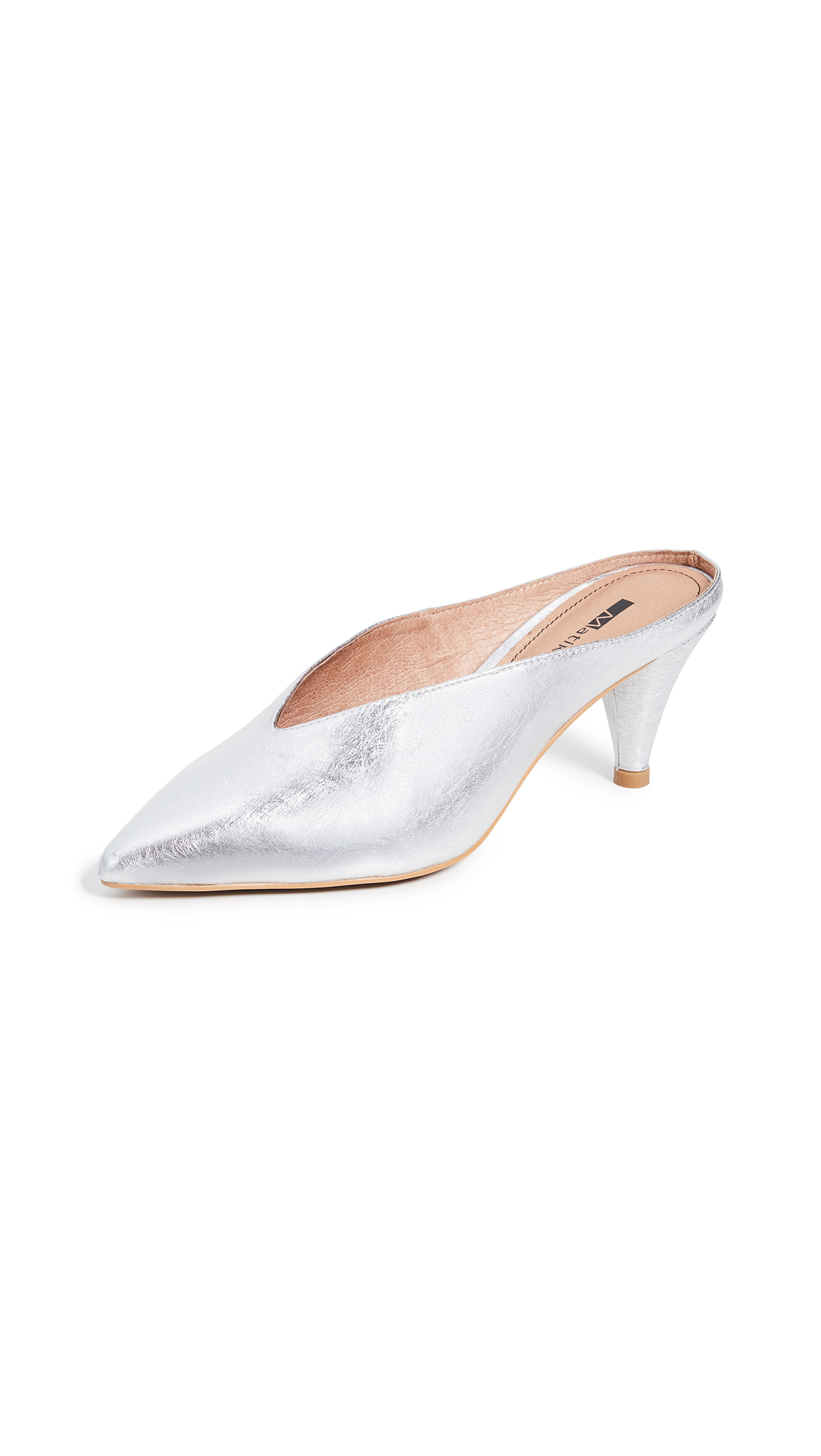 Matiko Lisa Point Toe Mules - Silver